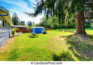 Spacious back yard of blue house with small shed
