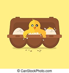Single New Born Chick Hit The Egg Vector Illustration