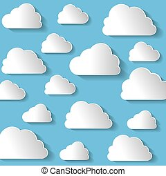 Many White Clouds On Blue Background Vector Illustration