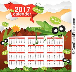 2017 Calendar Jungle Concept Vector