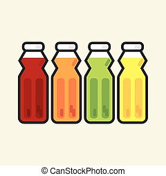 Set Of Colorful Fruit Juice Bottles