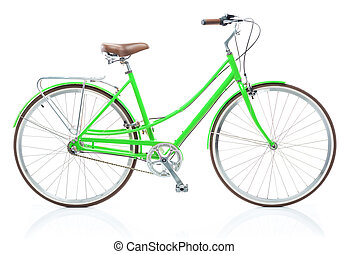 Stylish womens green bicycle isolated on white background