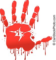 Bloody hand - The imprint of a bloody hand with streaks of...