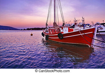 sunset boats at Euboea Greece - sunset boats at Eretria...