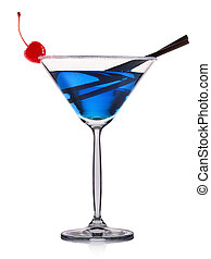 Blue cocktail in martini glass isolated on white background
