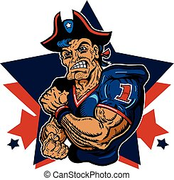 patriots football - muscular patriots football player mascot...