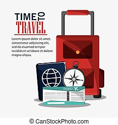 time travel vacation trip icon. - baggage ticket passport...