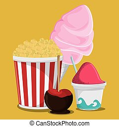 fair food snack carnival design - pop corn ice cream apple...