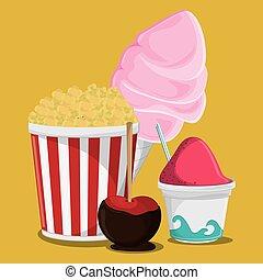fair food snack carnival design - pop corn ice cream apple...