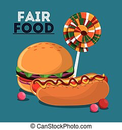 fair food snack carnival design - hot dog hamburger candy...