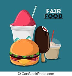 fair food snack carnival design - ice cream hamburger fair...