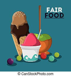 fair food snack carnival design - ice cream apple fair food...