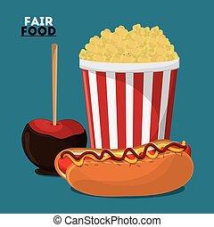fair food snack carnival icon - hot dog apple pop corn fair...