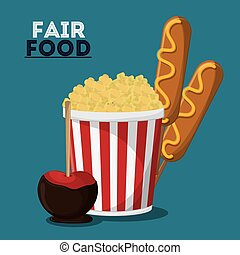 fair food snack carnival design - pop corn dog apple fair...