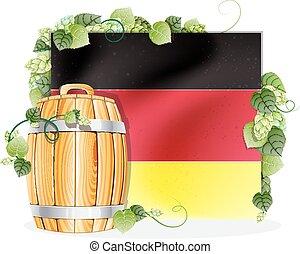 Beer barrel and German flag - Oak wooden beer barrel on the...