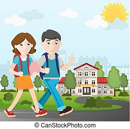 Boy and girl going to school - Boy and girl with books and...