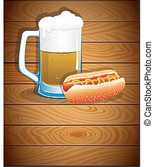 Beer mug and hot dog