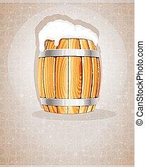 Beer barrel with foam - Beer foam flows from the open wooden...