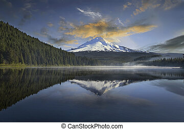 Mount Hood at Trillium Lake with Clouds and Reflection