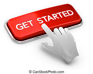 Call to Action Button, Get Started - 3D illustration of a...