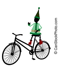 Christmas Elf With A Bycycle Silhouette Illustration