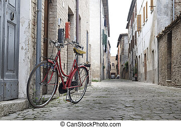 Urbania, Italy - August, 1, 2016: bicycle on a street in an...