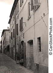 Urbania, Italy - August, 1, 2016: street in an ancient part...