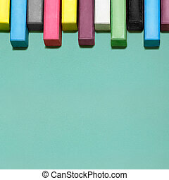 Chalky keys. - Creative still life of multicolored chalks...