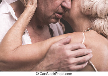 Elder love full of passion - Elder couple bodies close to...