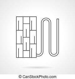 Underfloor pipeline flat line vector icon - Section of floor...