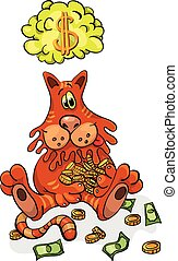 Cartoon Character Happy Cat Keeps Money. Vector illustration