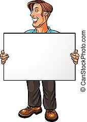 Smiling businessman holding a white blank banner Vector...