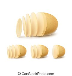 Vector Set of New Yellow Raw Sliced Potatoes