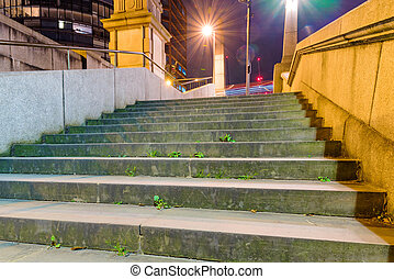 Urban scene of stairs by the River Thames at night