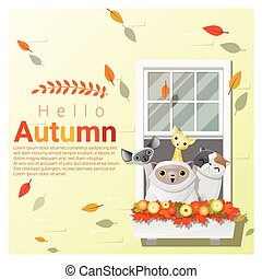 Hello autumn background with cats, vector , illustration