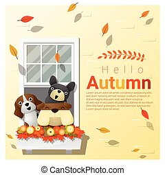 Hello autumn background with dogs, vector , illustration