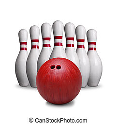 Red Bowling Ball And Pins Isolated on White Background - Red...