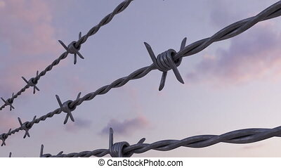 Barbed wire against evening cloudy sky, loopable dolly clip....