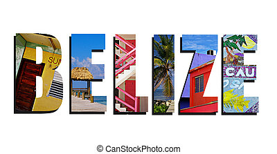 Belize collage on white - Assorted images of Belize in...