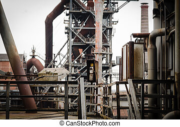 Old industry buildings at the Landschaftspark Duisburg - Old...