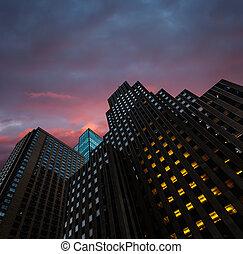 Evening in New York City Manhattan modern architecture