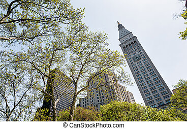 Madison Square Park - View of the Manhattan skyscrapers...