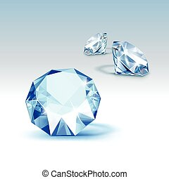 Vector Blue Shiny Clear Diamonds Close up Isolated on...