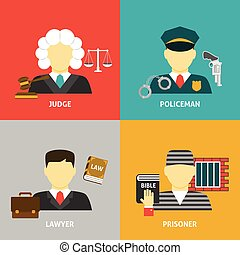 Profession flat avatar icons. Justice law and order legal...