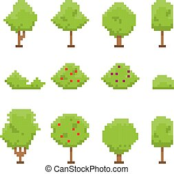 Pixel art trees collection isolated on white.