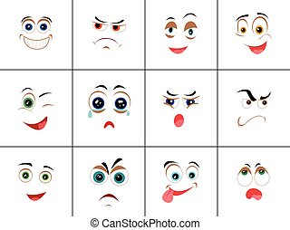 Set of Smileys with Expression of Emotions - Set of smileys...