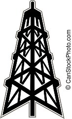 oil derrick - graphic silhouette design of an oil derrick or...
