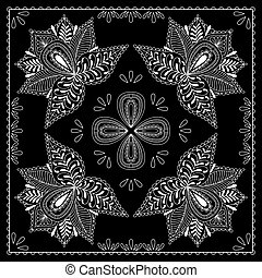 Black and white abstract bandana print with element henna...