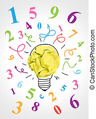 Brainstorming - Paper ball forming a lightbulb surrounded by...