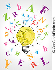 Idea concept - Paper ball forming a lightbulb surrounded by...